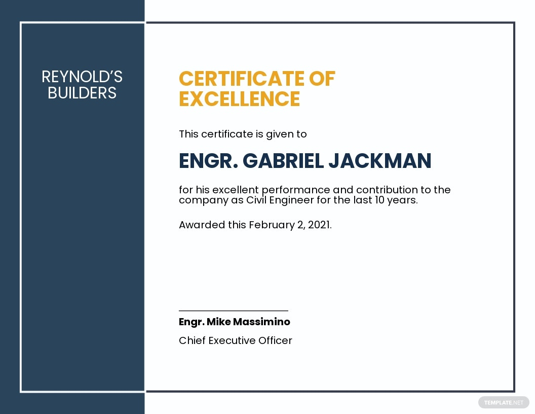 Editable Construction Certificate Template
