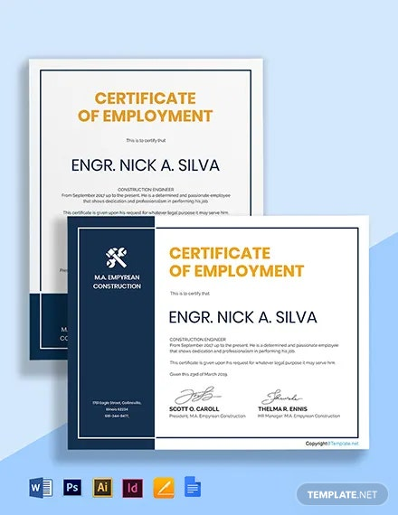 Free Editable Construction Certificate Template