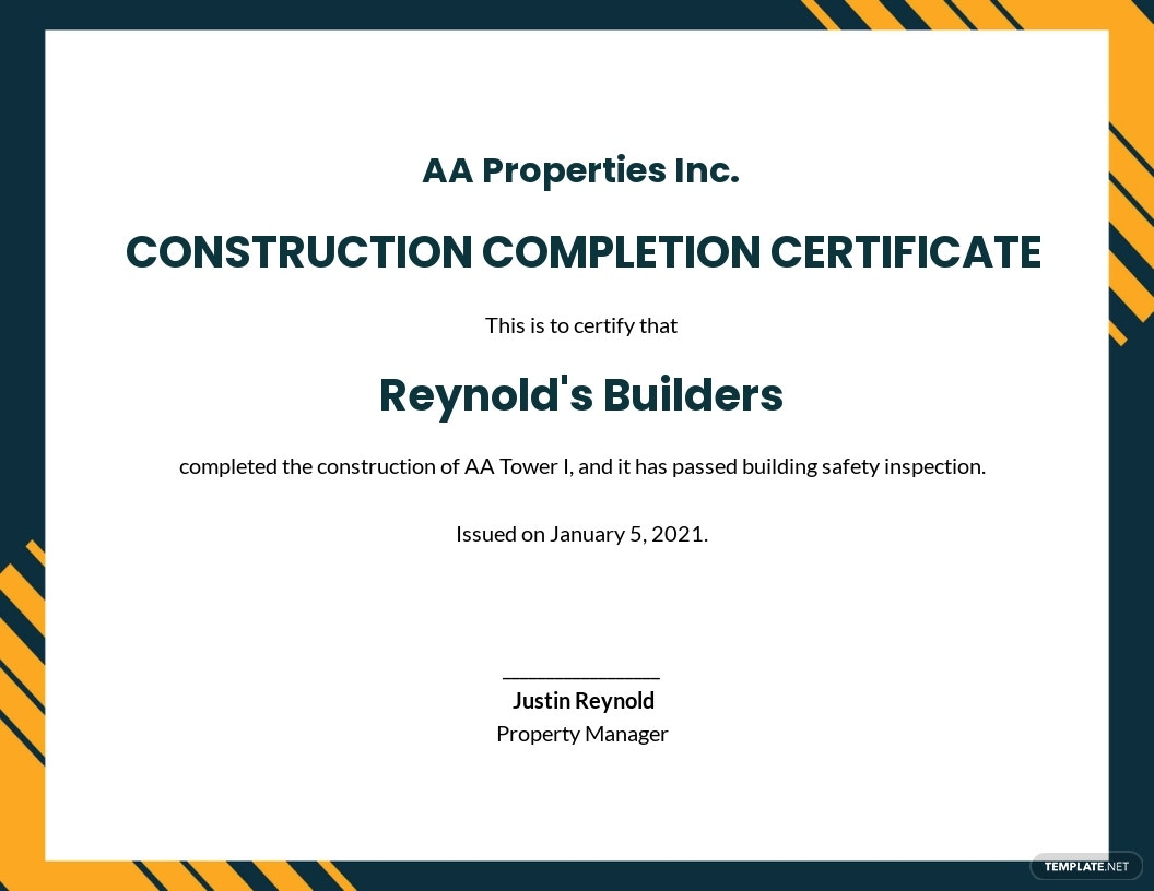 Simple Construction Certificate Template