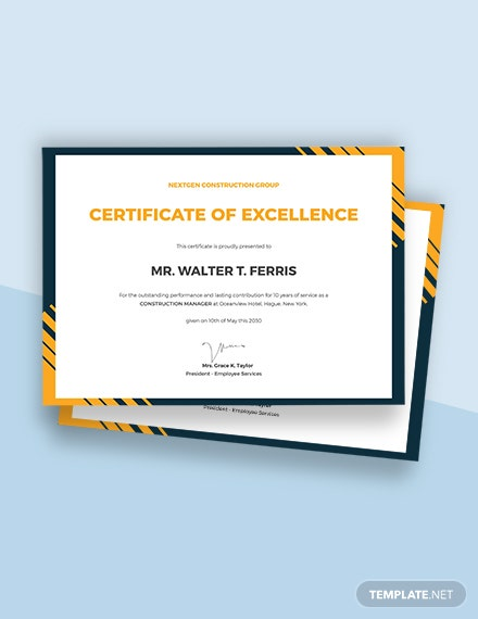 Free Simple Construction Certificate Template