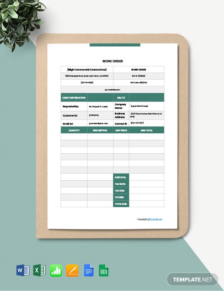 Blank Construction Work Order Template