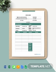 Free Blank Construction Work Order Template