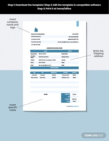 Printable Construction Work order Example