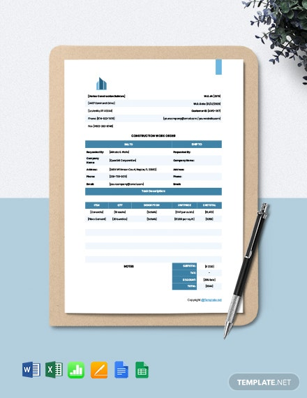Printable Construction Work order Template