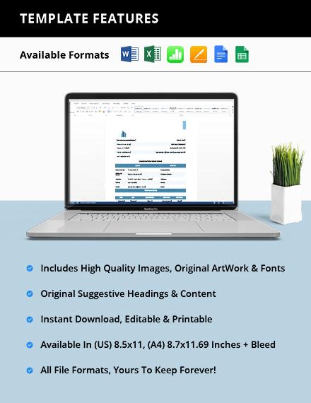 Printable Construction Work order format