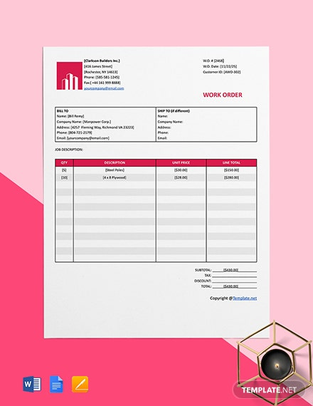 Free Basic Construction Work Order Template