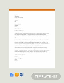Free Simple Recommendation Letter Template