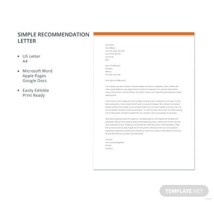 Simple Recommendation Letter Template