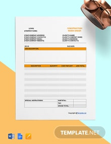 Free Simple Construction Work Order Template