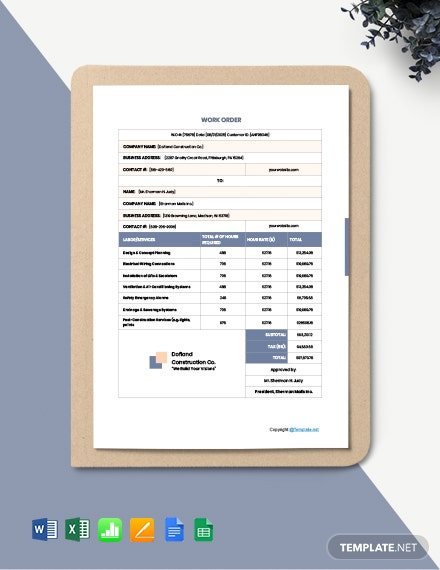 Free Sample Construction Work Order Template
