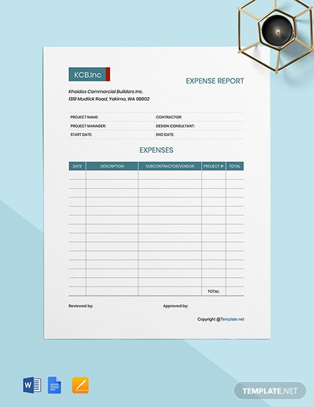 Free Printable Construction Expense Template