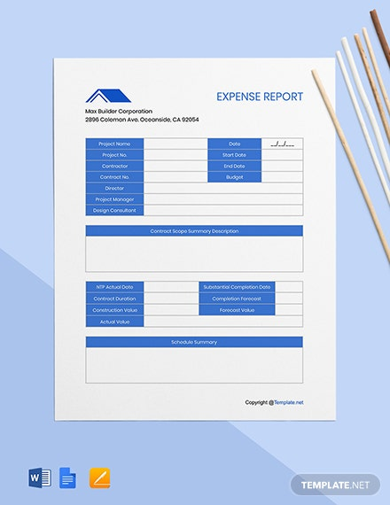 Free Editable Construction Expense Template