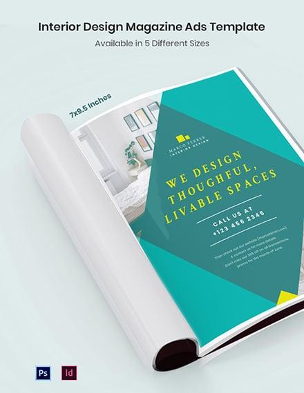Interior Design Magazine Ads Template