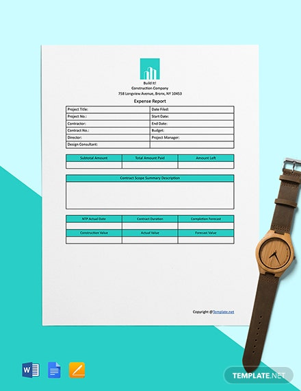 Free Simple Construction Expense Template