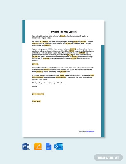 Free Character Reference Letter for Immigration Template