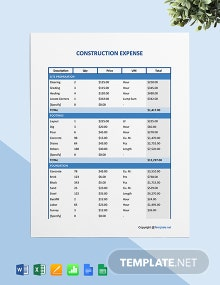 Free Sample Construction Expense Template