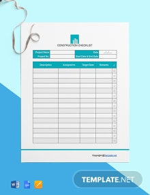 Free Blank Construction Checklist Template