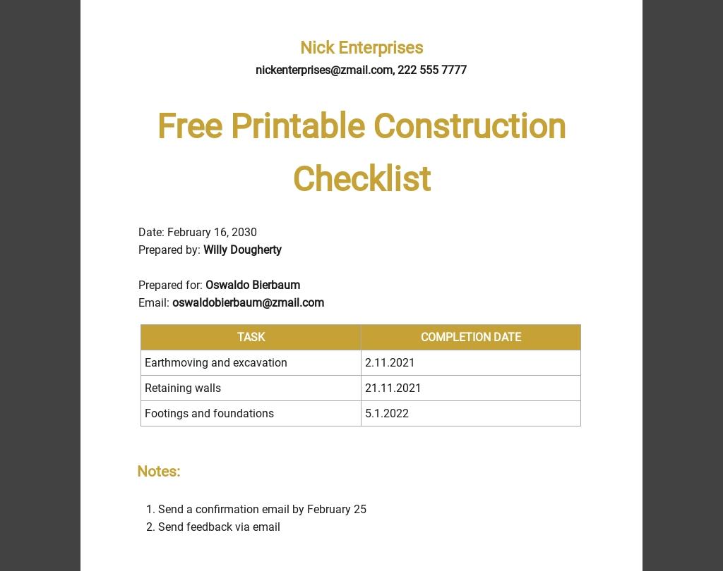 Free Printable Construction Checklist Template