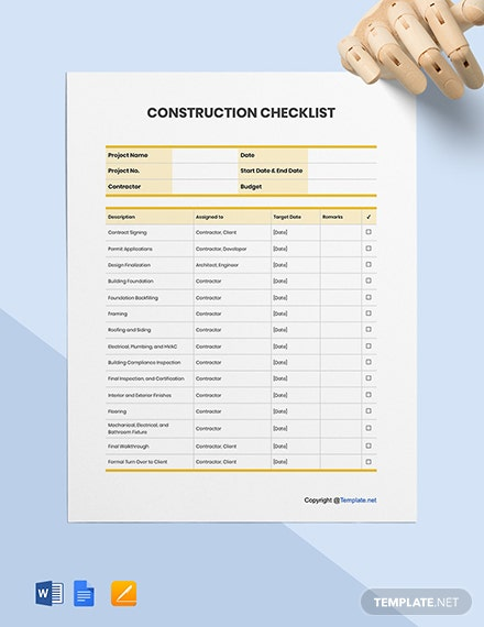 Free Printable Construction Checklist Template