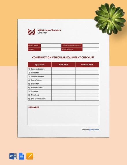 Free Sample Construction Checklist Template
