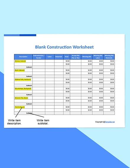 Blank Construction Worksheet Download