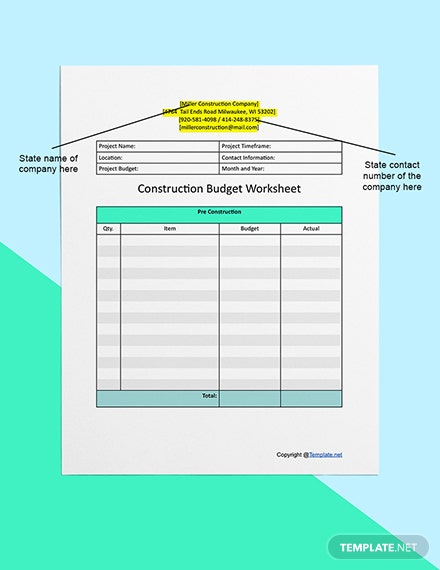 Printable Construction Worksheet Template  - Word, Apple Pages