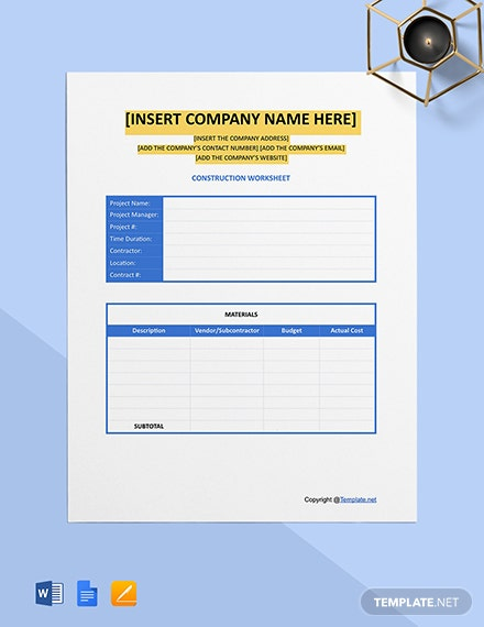 Free Editable Construction Worksheet Template