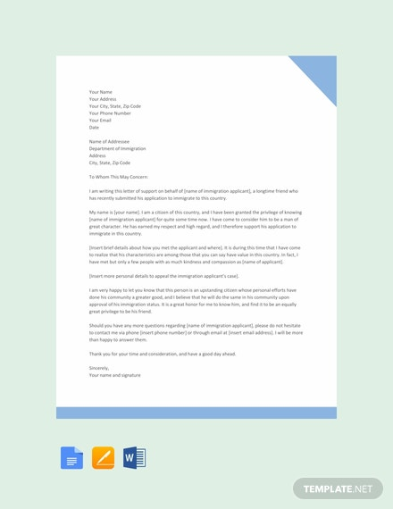 free immigration letter of support template