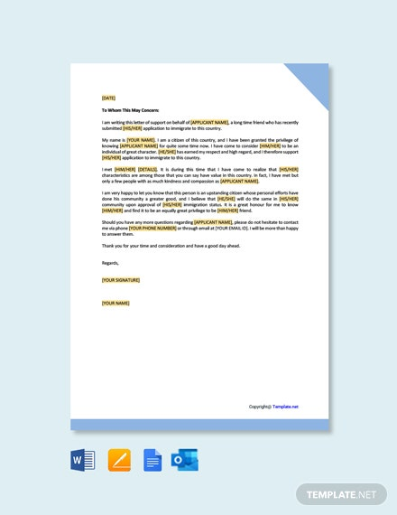 Immigration Letter of Support Template