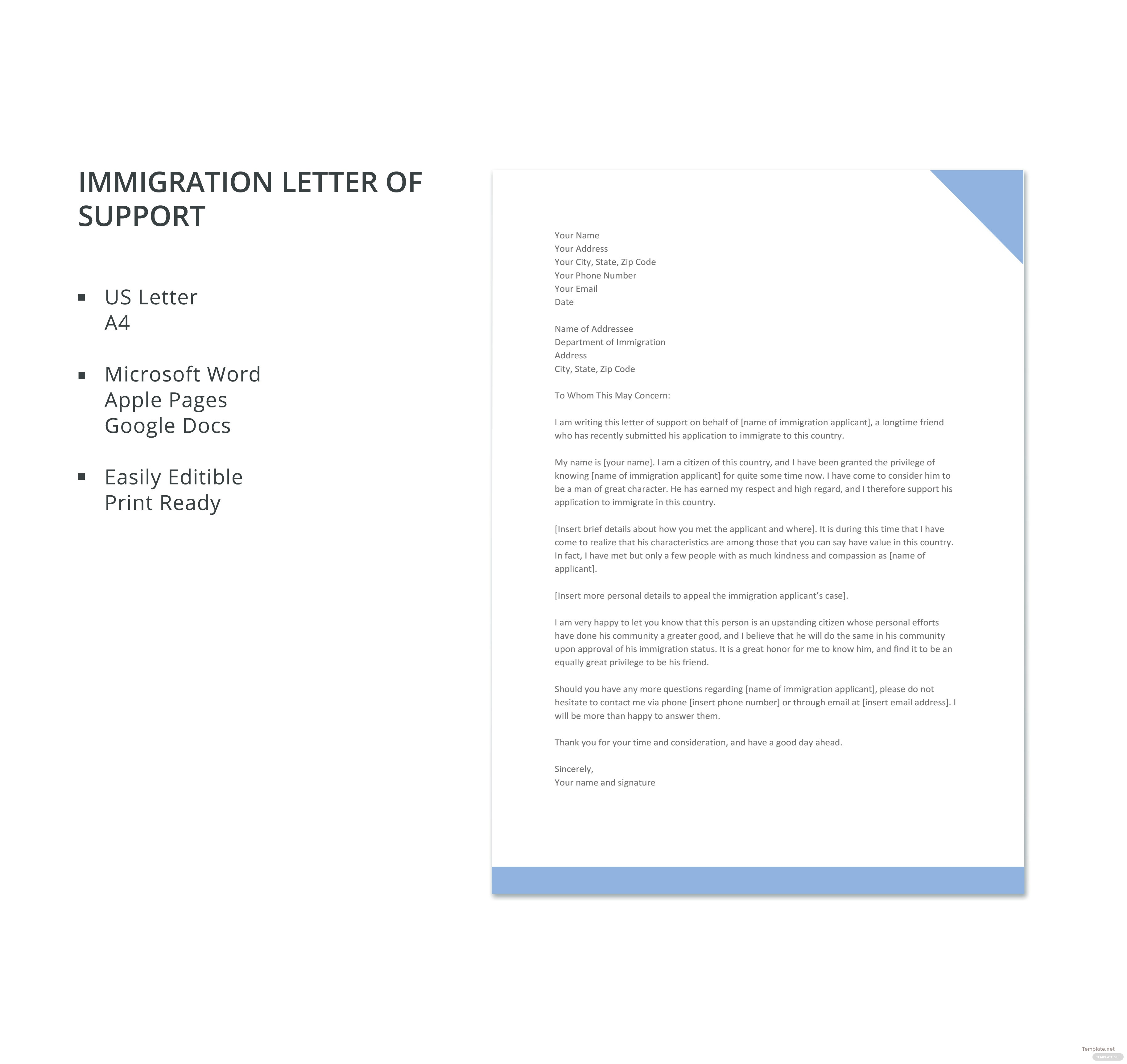 immigration letter of support template in microsoft word