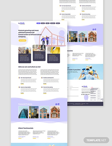 Free Building Company Website  Format