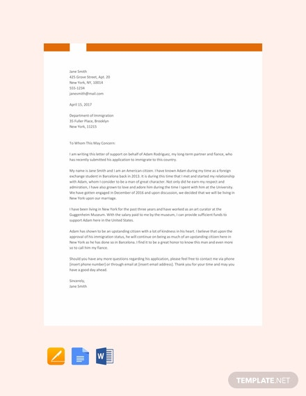 Free Sample Relationship Letter for Immigration Template