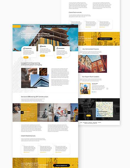 Construction Business Website Format