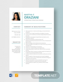 International Operations Manager Resume Template