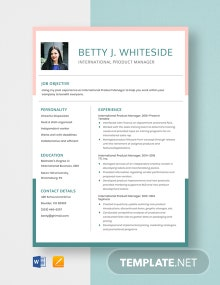 International Product Manager Resume Template