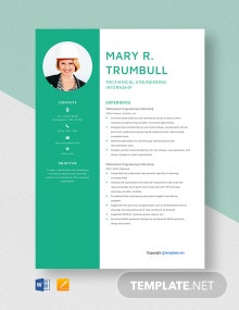 Free Mechanical Engineering Internship Resume Template