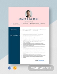 Free Financial Editor Resume Template