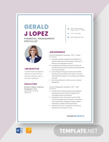 Free Financial Management Specialist Resume Template
