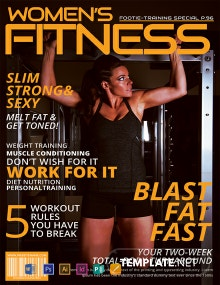 Free Women's Fitness Magazine Cover Template