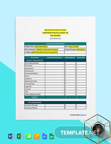 Basic Construction Worksheet Template