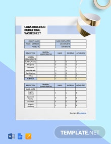 Simple Construction Worksheet Template