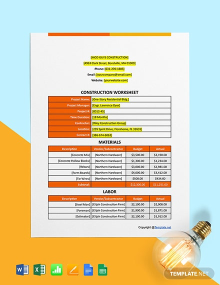 Free Sample Construction Worksheet Template