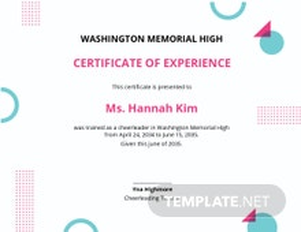 Cheerleader Certificate Template