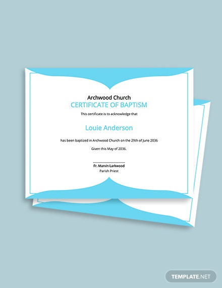Church Baptismal Certificate Template