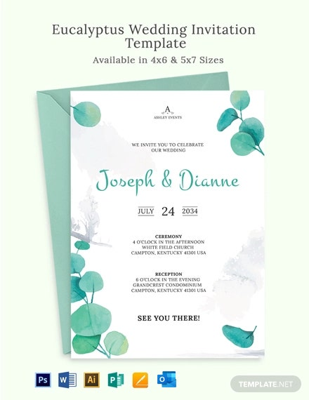 Eucalyptus Wedding Invitation Template
