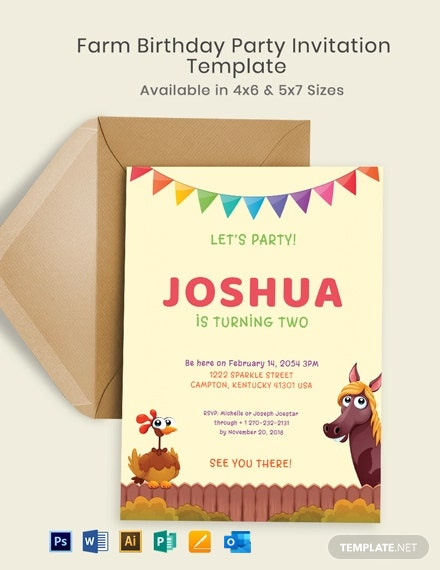 Farm Birthday Party Invitation Template