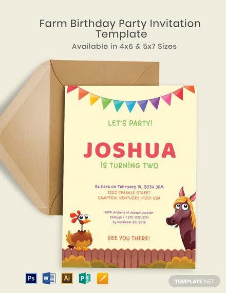 Farm Birthday Party Invitation Template