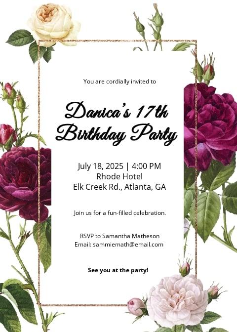 Floral Invitation Card Template