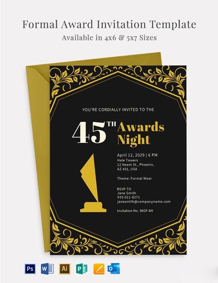 Formal Award Invitation Template