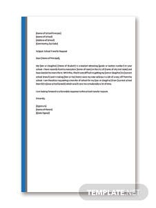 Elementary School Transfer Request Letter Template